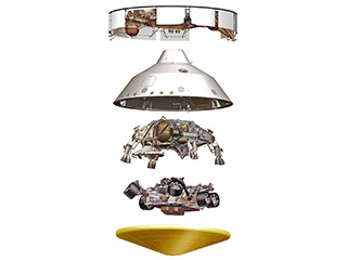 3D rendering of major Mars 2020 spacecraft parts in expanded view: cruise stage, backshell, descent stage, rover, heat shield