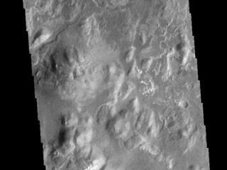 This image from NASAs Mars Odyssey shows the delta deposit on the floor of Eberswalde Crater.