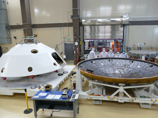 Mars 2020 heat shield and back shell prior to launch