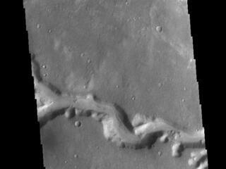This image from NASAs Mars Odyssey shows a small section of Nirgal Valles. Located in Noachis Terra, Nirgal Valles is 610km long (379 miles).