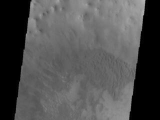 This image from NASAs Mars Odyssey shows part of Ross Crater. Located in Aonia Terra, the impact crater is 82 km (51 miles) in diameter.