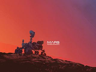 Perseverance Rover on Mars (Gradient Illustration)