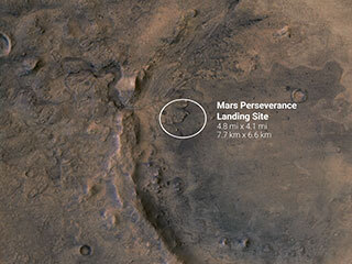 Perseverance Rover Landing Ellipse in Jezero Crater