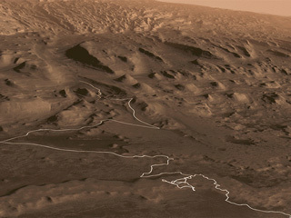 animation shows a proposed route up Mount Sharp that the rover could follow in the future