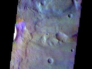 This image from NASAs Mars Odyssey shows the floor of an unnamed crater in Terra Sirenum.