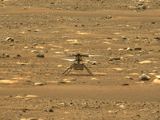 Mars helicopter on the surface of Mars