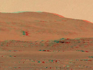 After the Mastcam-Z imager aboard NASA's Perseverance rover captured Ingenuity's third flight on April 25, the frames of the video that was stitched together were then reprojected to optimize viewing in an anaglyph, or an image seen in 3D when seen through color-filtered glasses.