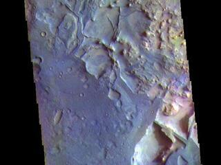 This image from NASAs Mars Odyssey shows part of the floor of an unnamed crater in Terra Sabaea.
