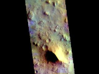 This image from NASAs Mars Odyssey shows part of Terra Sabaea between the graben of Nili Fossae and the lowlands of Isidis Planitia.