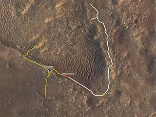 Mars map containing depiction of the ground track (indicated in white) of NASA's Perseverance rover since it arrived on Mars on Feb. 18, 2021.