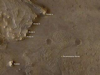 View image for Jezero Crater's 'Kodiak' and Scarps